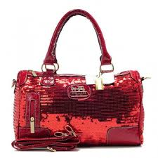 Coach Poppy East West In Sequin Signature Large Red Satchels NCy4792