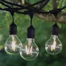 100 ft black commercial medium suspended socket string light led g80 vintage warm white bulbs