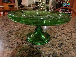 eapg cake plate child children s size green glass antique ribbon candy