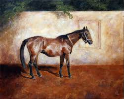 fine art inscription of a horse original oil painting on canvas by artist darko