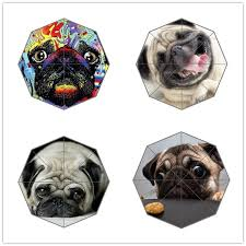 2019 friend birthday gift good quality umbrella cute and funny pug dog patten for kids portable foldable umbrellas outdoor umbrella from aurorl