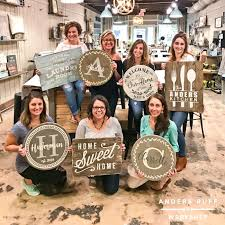 wood pallet sign class lazy susan painting party