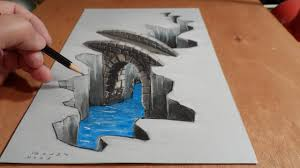 3d drawing on paper tutorial 3d drawing bridge how to draw 3d art you