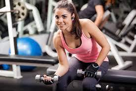Photos Workout Smile Fitness Girls athletic Dumbbells Sleeveless