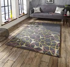 spectrum sp37 grey yellow pink rug