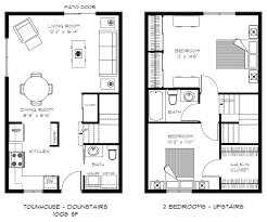 two story house plans kitchen upstairs new bedroom townhouse floor downstairs plan