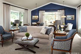 StarrMiller Interior Design, Inc. --traditional family room --> really like  the dark blue accent wall