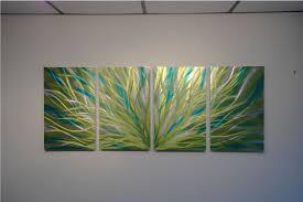 abstract metal wall art. Radiance Cyan Chartreuse - Abstract Metal Wall Art Contemporary Modern Decor