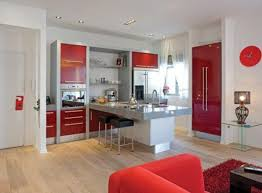 White Kitchen With Red Accents Red Kitchen Accents Cube Modern Stainless Steel Build Microwave