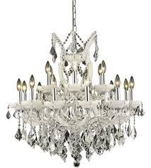 elegant lighting 2800d30wh sa maria theresa 19 light 30 inch white dining chandelier ceiling light in clear spectra swarovski