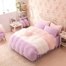 pink bedding set queen purple white pink girls cashmere wool velvet ruffle queen size duvet cover