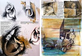 here the integration of artist work student photographs and observational drawings clearly show the journey taken while exploring and developing ideas