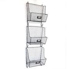 Mail Rack Wall Mount Key Letter Fruit Basket Holder Metal 3 Tier Storage  Rack