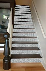 wood tile stairs grey mosaic painted stairway porcelain staircase