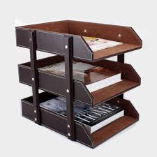 3 layer detachable wood leather desk filing tray box office organizer case doent container