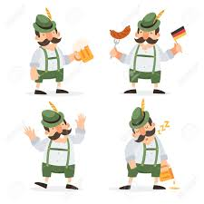 funny cartoon characters in folk costumes of bavaria celebrate and have fun at oktoberfest