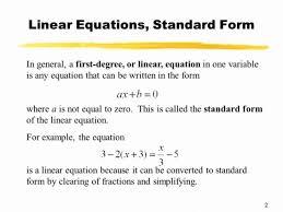 standard form linear equation