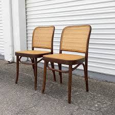 pair of vintage josef hoffmann prague thonet bentwood and cane chairs made in poland