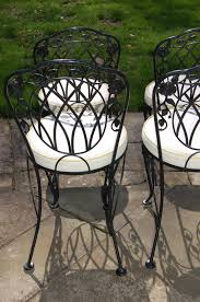 Lyon Shaw Windflower Lattice Wrought Iron Outdoor Patio Table & 4