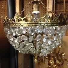 antique vintage hollywood regency spain crystal basket chandelier ceiling light