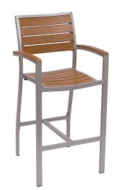 largo mercial outdoor arm barstool with black or silver frame synthetic teak seat 8
