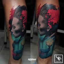 фото татуировки девушка в стиле авторский акварель реализм трэш