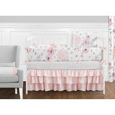 Sweet Jojo Designs Blush Pink, Grey and White Shabby Chic Watercolor Floral  Collection Baby Girl 9piece Crib Bedding Set - Free Shipping Today ...