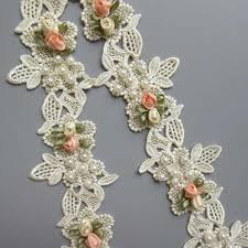<b>1yd</b> Apricot Cotton Flower Diamond Pearl Embroidered <b>Fabric Lace</b> ...