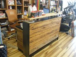 4 reclaimed distressed wood reception desk or distressed reclaimed wood s counter