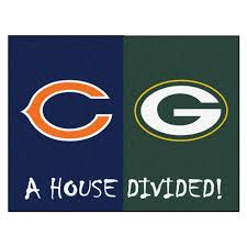 fanmats nfl bears packers navy house divided 3 ft x 4 ft area
