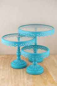 Cake Stands Round Metal & Glass Pedestal Stands Turquoise (Set of ...