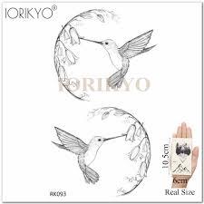 Ioridyo карандаш эскиз колибри татуировка женская роза цветок временная татуировка
