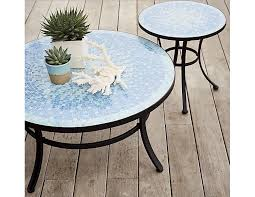 round blue mosaic tiled coffee table gardenista