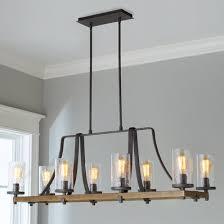 island chandelier lighting. Industrial Farmhouse Wavy Glass Island Chandelier - 8 Light Lighting E