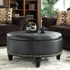 black round leather coffee table with golden nails living room design footstool uk