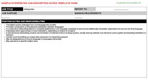 Interpreter Job Description Interpreter Job Description Duties