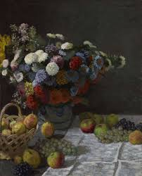 claude monet still life with flowers and fruit 1869 oil on