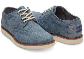 blue toms blue chambray youth brogues