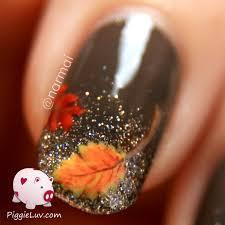 Fall nail art! Autumn leaves on glitter gradient | Leaves, Autumn ...