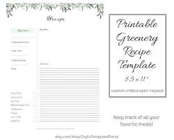 Recipe Template Word Full Page Recipe Card Template