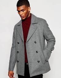 Mens Light Blue Peacoat Asos Wool Peacoat In Light Grey Lightgrey