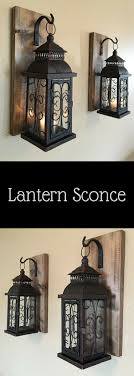 Lantern pair wall decor, wall sconces, bathroom decor, home and living,  wrought iron hook, rustic wood boards, bedroom decor, rustic home dcor,  diy, ...