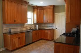 cherry kitchen cabinets black granite. Hickory Wood Light Grey Prestige Door Natural Cherry Kitchen Cabinets Backsplash Shaped Tile Ceramic Granite Countertops Sink Faucet Island Lighting Black