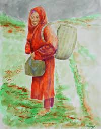 bundled and barefoot portrait of old asian woman painting by jayne somogy