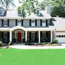 red door grey house. Red Door Black Shutter Exterior House Paint Colors With . Tan Grey