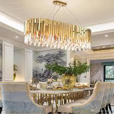 Großhandel Einfache Atmosphäre Wohnzimmer Kronleuchter Restaurant Schlafzimmer Edelstahl Kronleuchter Licht Luxus Postmodernen Ovalen Kristall