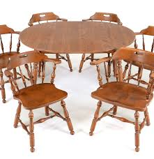 Early American Style Maple Dining Table And Six Chairs  EBTH - Early american dining room furniture