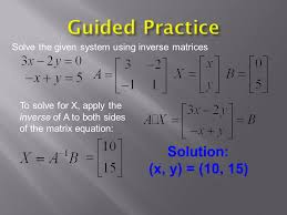 guided practice solution x y 10 15