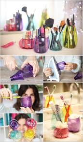 make colorful makeup holders with colored plastic bottles like these