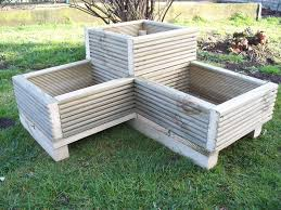 corner decking wooden garden planter wood trough l shaped timber herbs planter